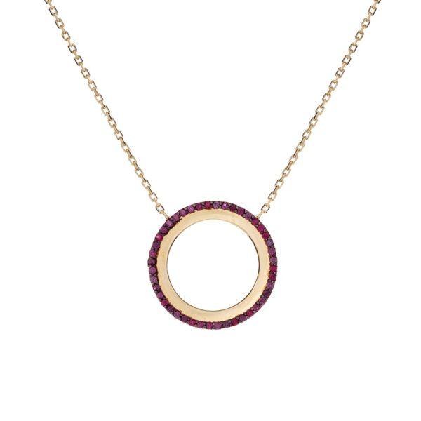 Naszyjnik royal złoty z bordowymi cyrkoniami