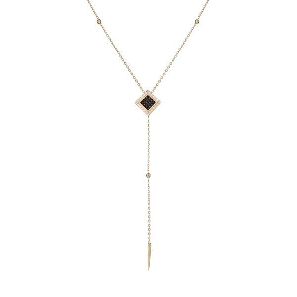 Naszyjnik royal złoty z czarnymi i białymi cyrkoniami