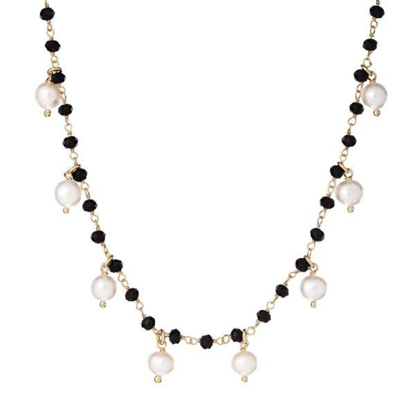 Naszyjnik sunny srebrny pozłacany z naturalnymi perłami