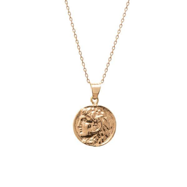 Naszyjnik urban chic srebrny pozłacany z monetą 1