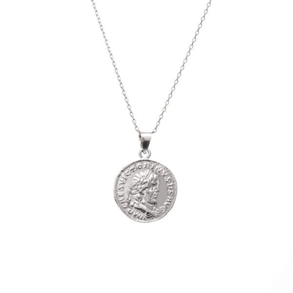 Naszyjnik urban chic srebrny z monetą 1