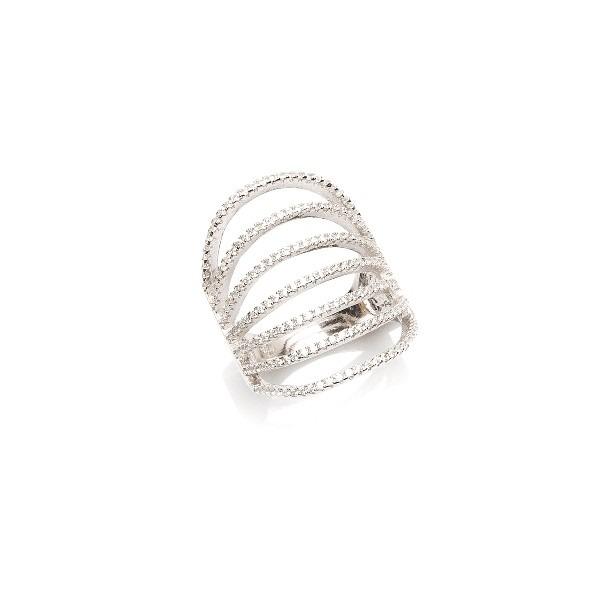 Pierścionek glamour srebrny z cyrkoniami