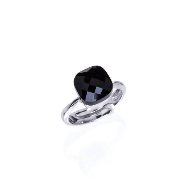 Pierścionek venus srebrny z czarnym kryształem