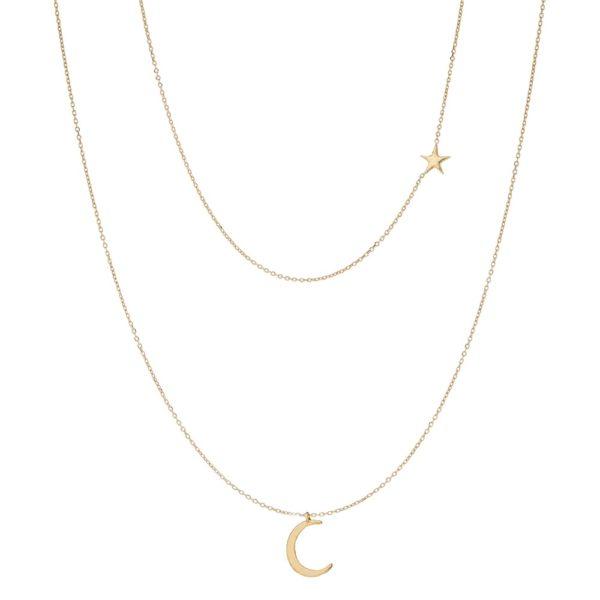 Podwójny naszyjnik goldie złoty z księżycem i gwiazdką